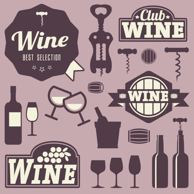 Wine labels and icons design Vector Free Download