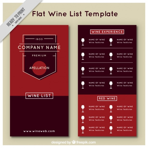 Wine list template in flat style Vector Free Download