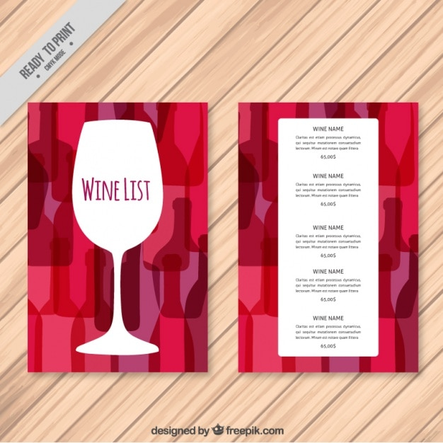 Wine list template with colorful background Vector Free Download - free wine list template