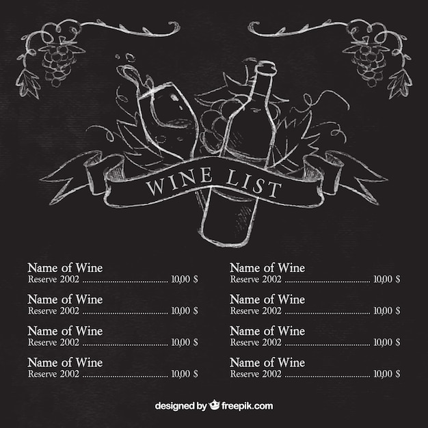 Wine list template with sketches on blackboard Vector Free Download