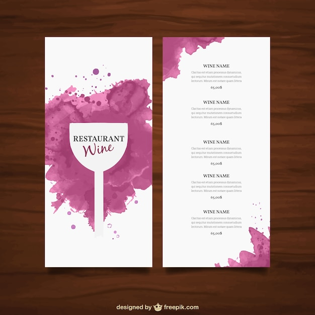 Wine list template Vector Free Download - free wine list template