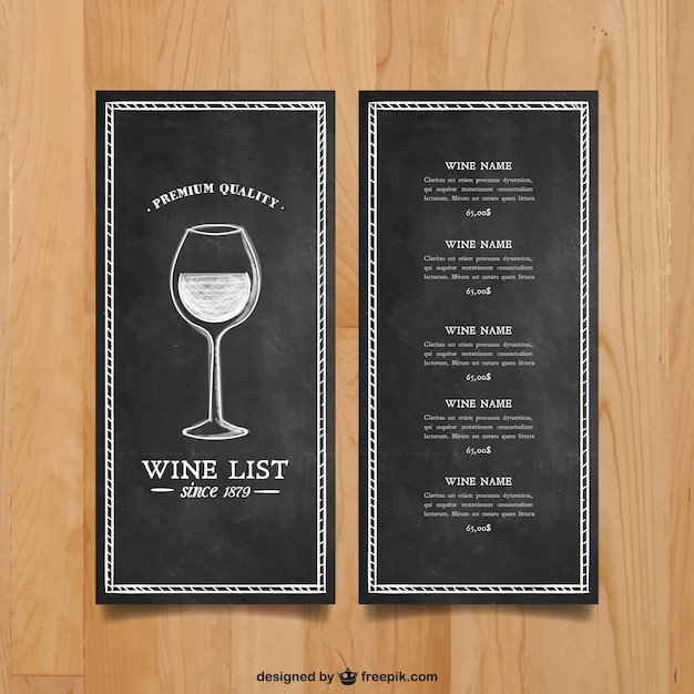 Wine list template Vector Free Download