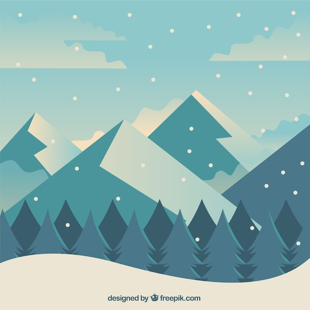 Cute Aqua Green Wallpaper Winter Background With Forest And Mountains In Flat Design