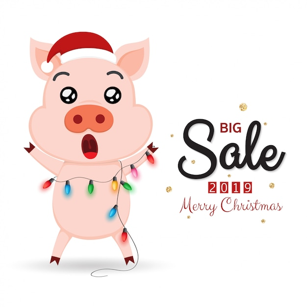 Winter sale banner with cute pig and Christmas lights Vector