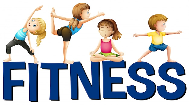Word fitness with people doing yoga Vector Premium Download