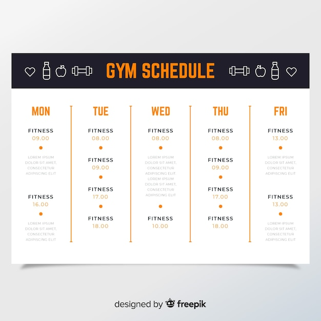 Workout schedule template Vector Free Download