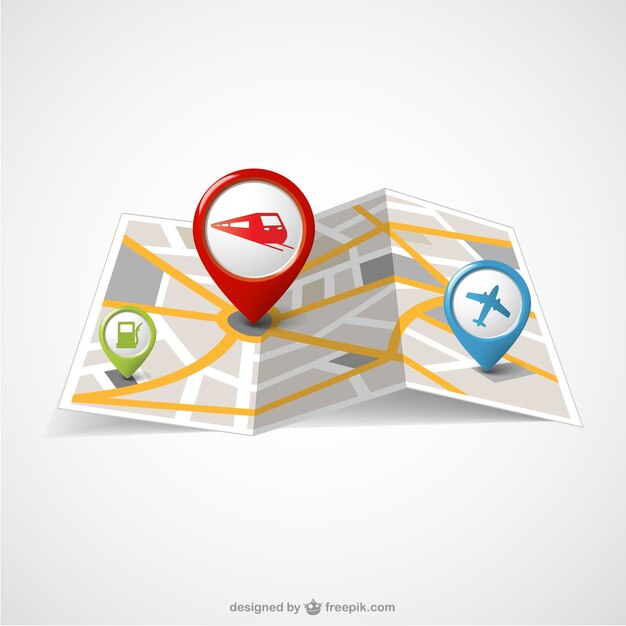 World paper map and pin maps Vector Free Download