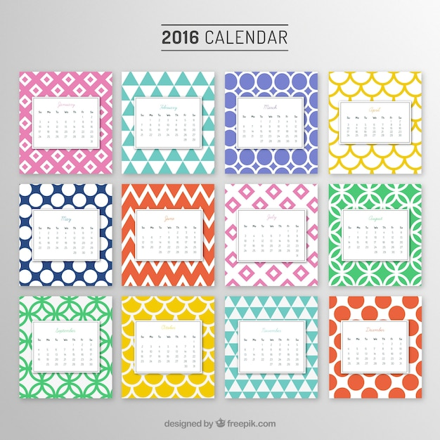 Yearly calendar with colorful patterns Vector Free Download - yearly calendar