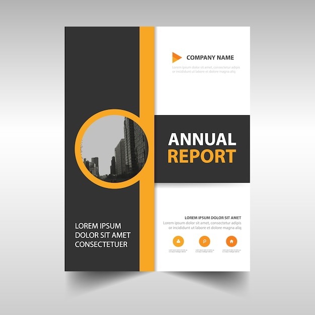 Yellow abstract annual report template Vector Free Download - annual report template design