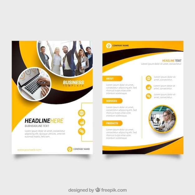 Yellow and black business flyer template Vector Free Download - black flyer template