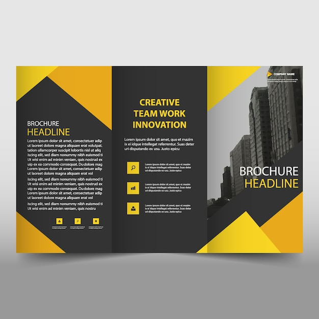 Yellow and black trifold business brochure template Vector Free