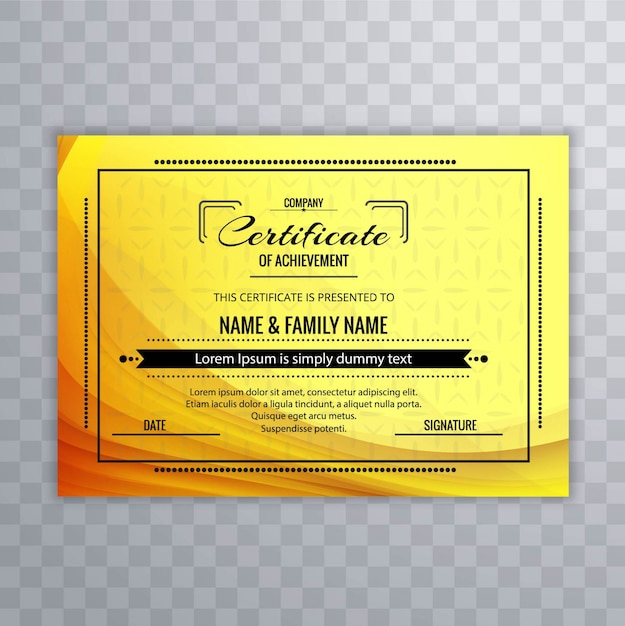Yellow certificate of achievement template Vector Free Download