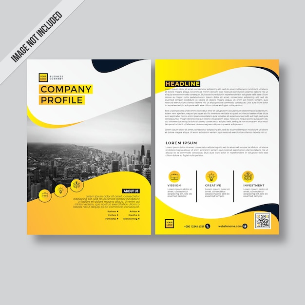 Yellow modern style design flyer company profile template Vector