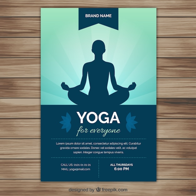 Yoga silhouette flyer Vector Free Download - yoga flyer