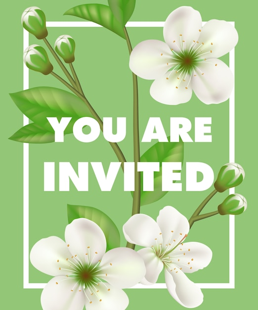 You are invited lettering with white flowers in frame on green