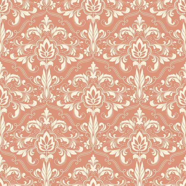 Papier Peint Vintage Graphique Vector Background Damask Seamless Pattern. Ornement