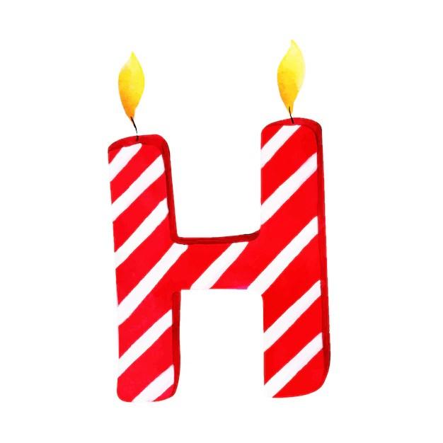 Acuarela feliz cumpleaños letra h vela Descargar Vectores Premium