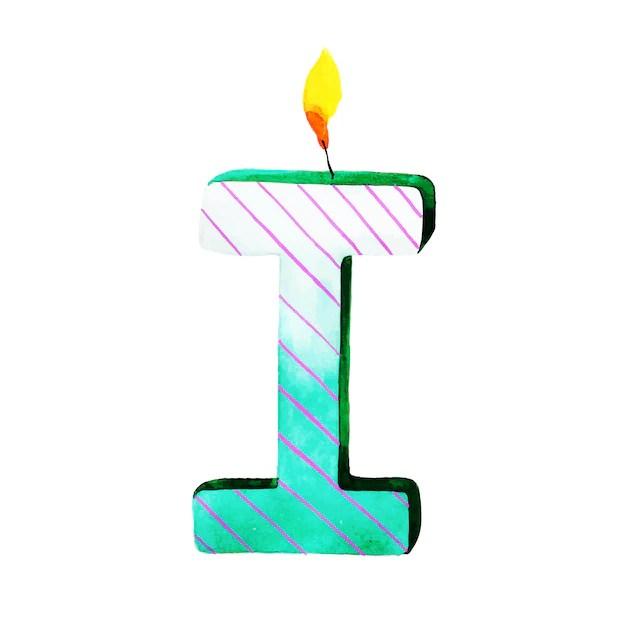 Acuarela feliz cumpleaños letra i vela Descargar Vectores gratis