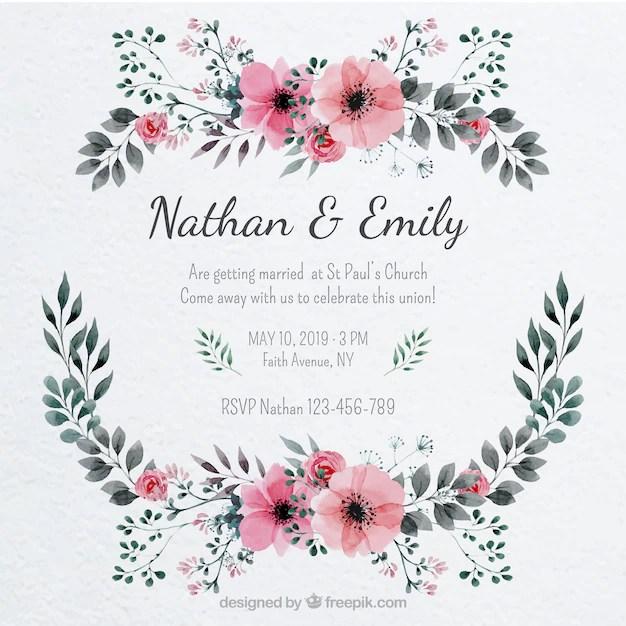 Bonita invitación de boda con un marco floral Descargar Vectores - invitaciones de boda gratis