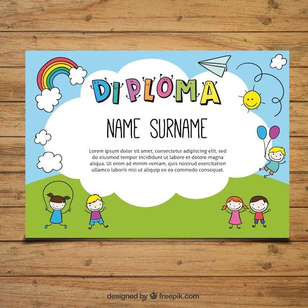 Bonito diploma para niños Descargar Vectores gratis