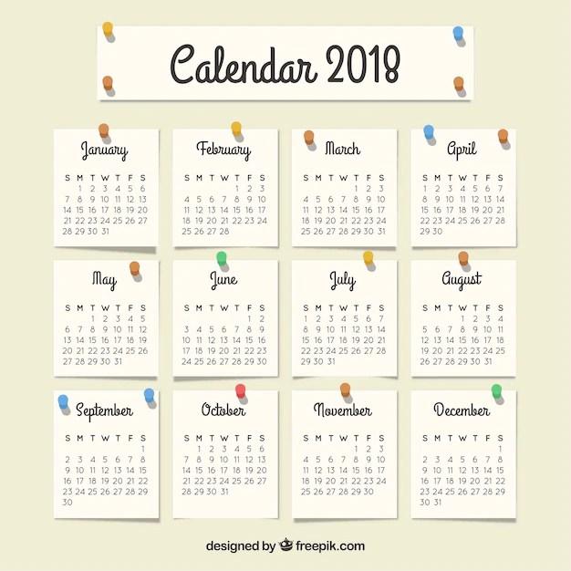 Calendario 2018 con notas Descargar Vectores gratis