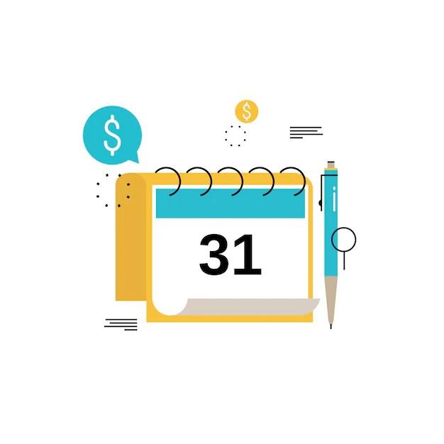 Calendario financiero, planificación financiera, presupuesto mensual