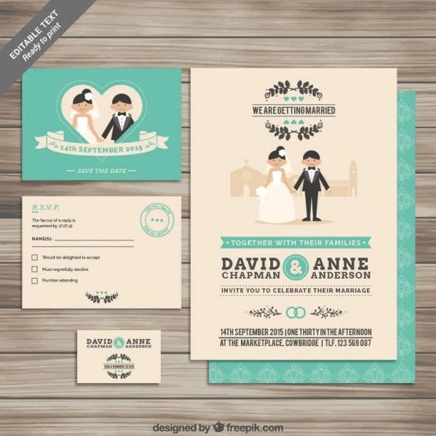 Colección de invitaciones de boda Descargar Vectores gratis
