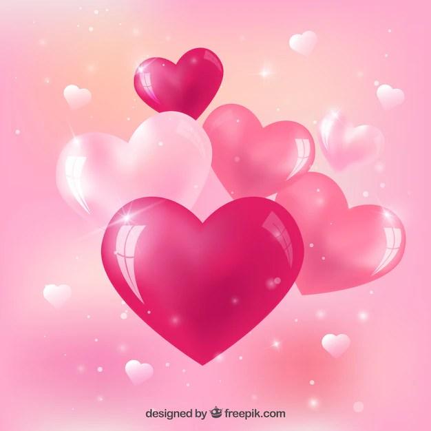 Corazones rosa brillantes Descargar Vectores gratis
