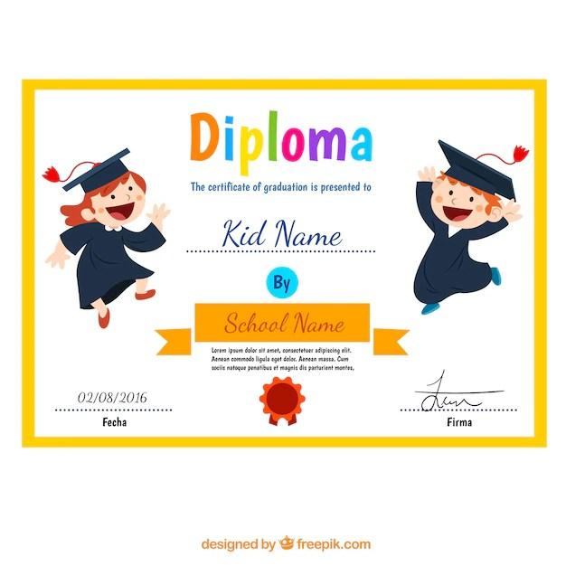 Diploma niño con los niños divertidos Descargar Vectores gratis