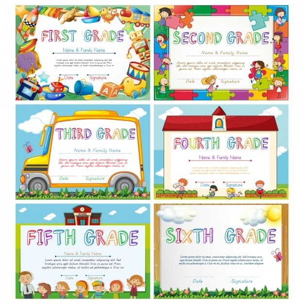 Diplomas de graduación para niños Descargar Vectores Premium