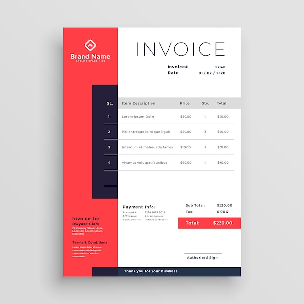 Diseño de plantilla de factura comercial roja Descargar Vectores