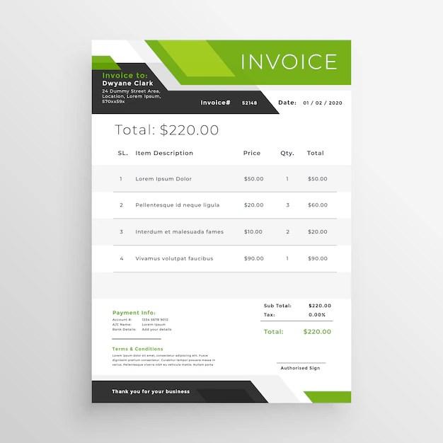 Diseño de plantilla de factura comercial verde Descargar Vectores
