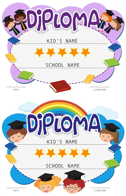 Dos plantillas de diploma con niños en toga de graduación