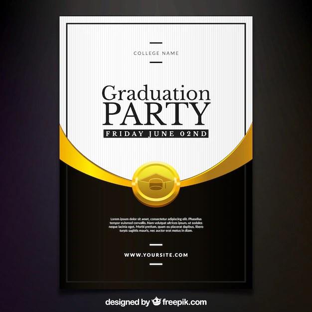 Elegante invitación de fiesta de graduación Descargar Vectores gratis