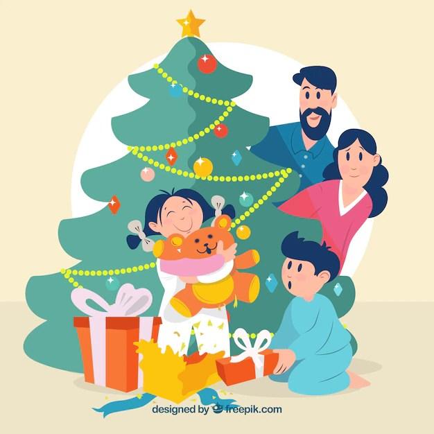 Escena familiar de navidad Descargar Vectores gratis