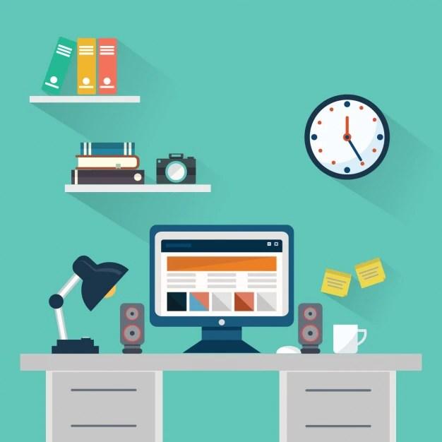 Classic 3d Desktop Workplace Wallpaper Espacio De Trabajo Estilo Flat Descargar Vectores Gratis