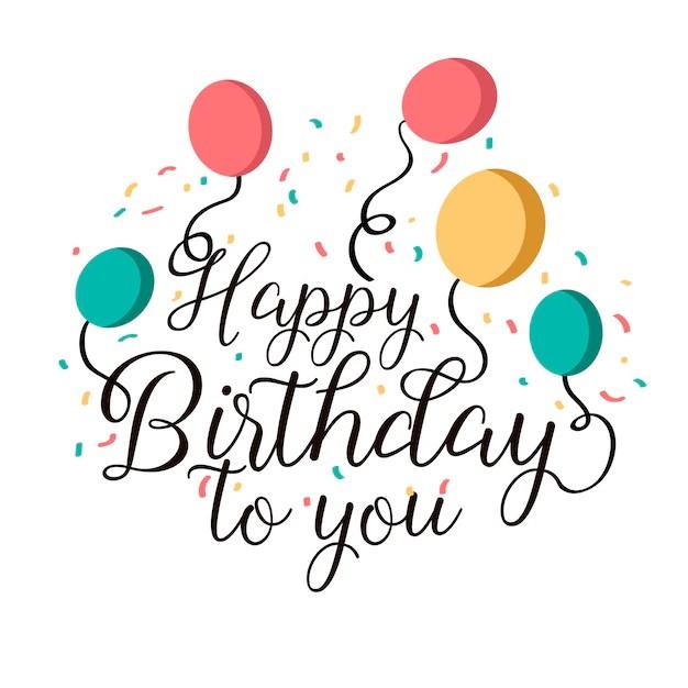 Feliz cumpleaños letras con confeti Descargar Vectores Premium