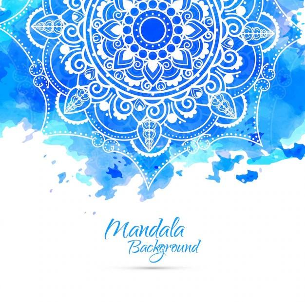 Cute Aqua Green Wallpaper Fondo Azul De Acuarela Con Mandala Dibujado A Mano