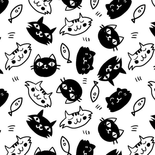 Skeleton Pattern Wallpaper Cute Fondo Con Patr 243 N De Gatos Blanco Y Negro Descargar
