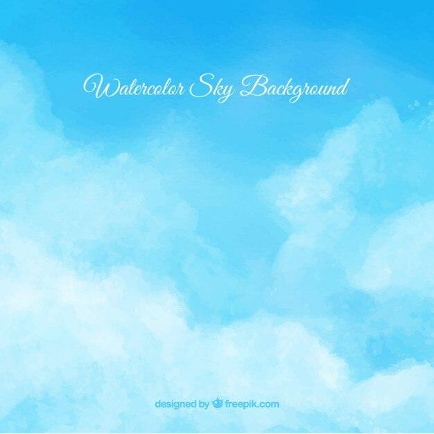 Fondo de cielo de acuarela con nubes Descargar Vectores gratis - fondo nubes