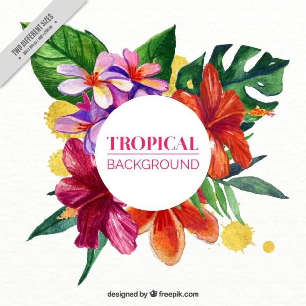 Cute Stitch On Side Wallpaper Fondo De Flores Tropicales En Efecto Acuarela Descargar