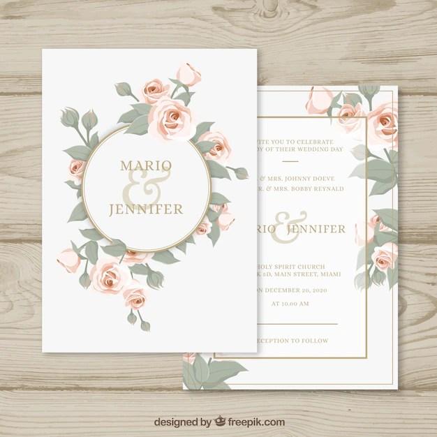 Invitación de boda con círculo floral Descargar Vectores gratis