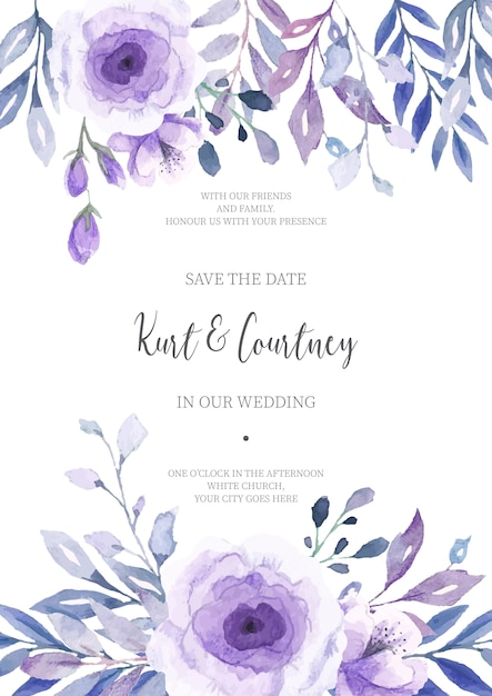 Invitación de boda floral lista para imprimir Descargar Vectores