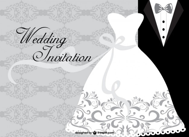 Invitación de boda minimalista Descargar Vectores gratis