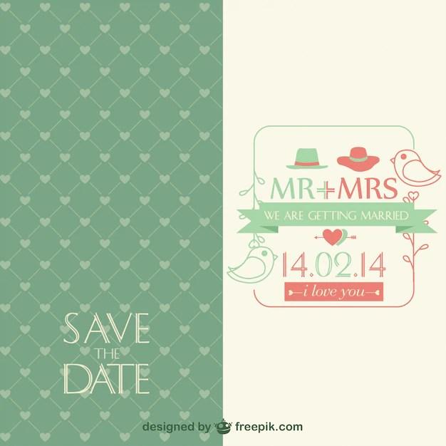 Invitación de la boda vintage, formato ai Descargar Vectores gratis