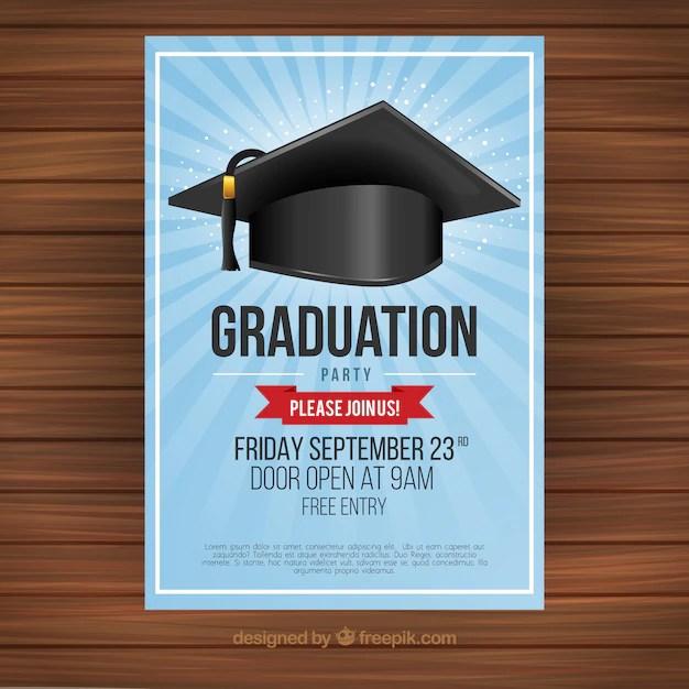 Invitación de fiesta de graduación con birrete Descargar Vectores
