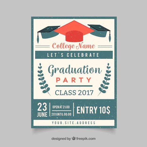 Invitación retro de fiesta de graduación Descargar Vectores gratis