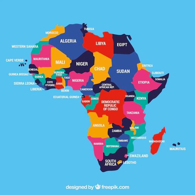 Mapa del continente de áfrica con diferentes colores Descargar