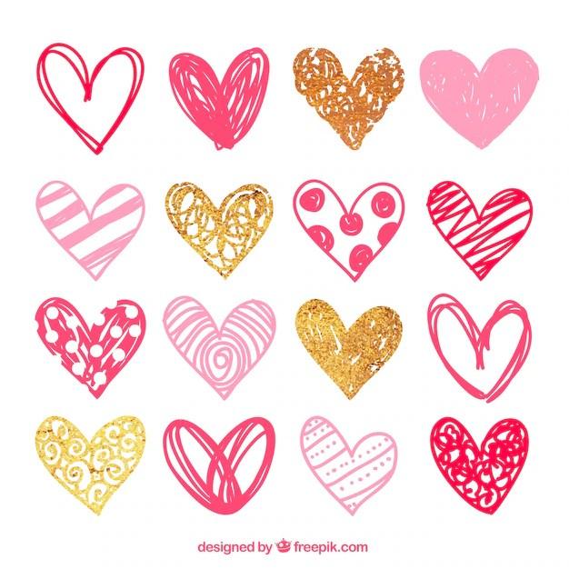 Paquete de corazones rosas esbozados Descargar Vectores gratis