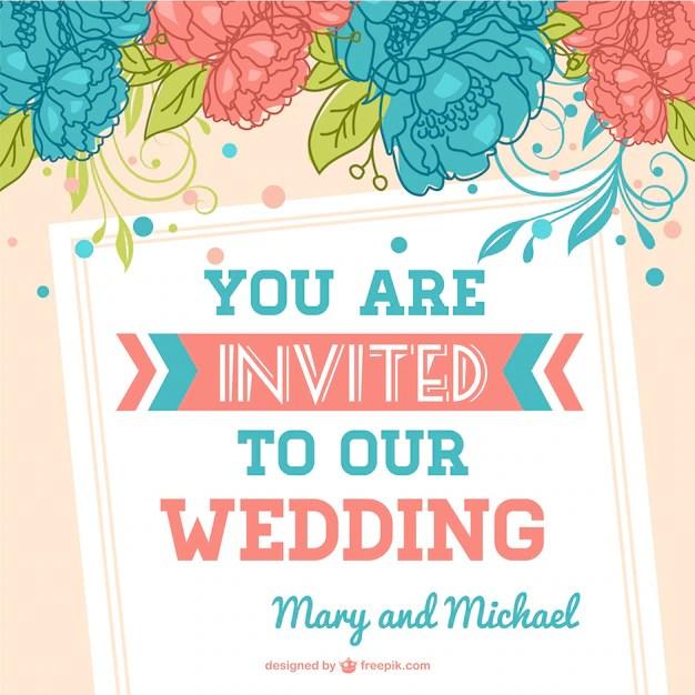 Plantilla de invitación de boda con flores Descargar Vectores gratis - plantillas para invitaciones gratis